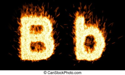 Loopable burning B character, capital and small. Alpha...