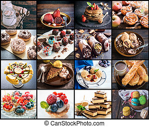 Sweet food collage - Photo collage of different desserts