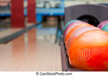 Bowling balls - Interior of vintage bowling hall. Focus on...