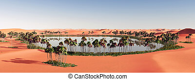 Oasis in the desert - Computer generated 3D illustration...