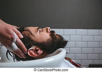 pelo, peluquero, lavado,  client&#39,  S
