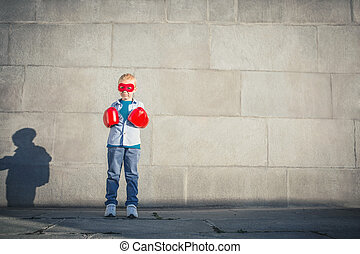 Children - Little boy with boxing gloves