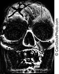 Old scary skull - Old scary human skull in the dark