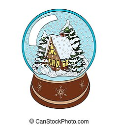 Snowman, House And Trees In Snow Globe