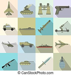 16 weapon flat icons set Color illustrations with military...