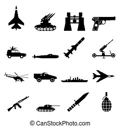 16 weapon simple icons set - 16 weapon simple black icons...