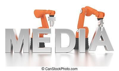 Industrial robotic arms building MEDIA word