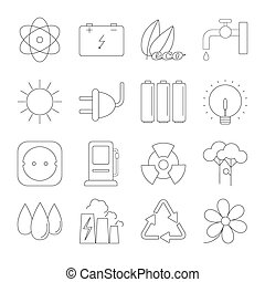 Ecology thin line icons set isolated on white background