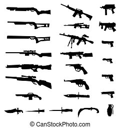 Weapon silhouette set isolated on white background