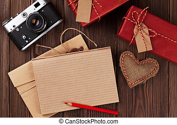 Valentines day toy heart, camera, gifts and notepad -...
