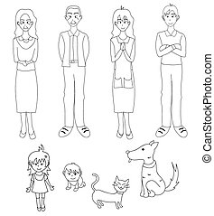 Three Generation Familys with Cat Dog Drawing Illustration
