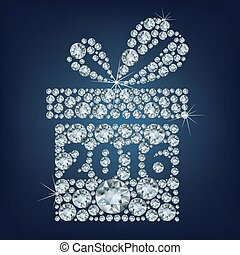 Gift present with 2016 made up a lot of diamonds