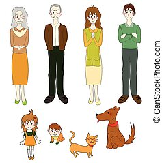 Three Generation Familys with Cat Dog in Color. Drawing...