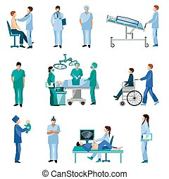Medical professional people flat icons set