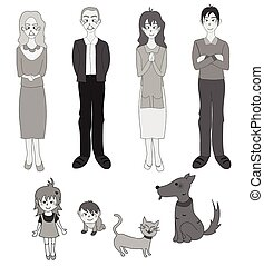 Three Generation Familys with Cat Dog in Gray Drawing...