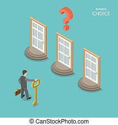 Business choice isometric flat vector concept Businessman is...