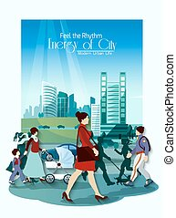 City People Poster - City people poster with modern...
