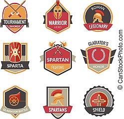 Gladiator Emblems Set - Gladiator emblems set with spartan...