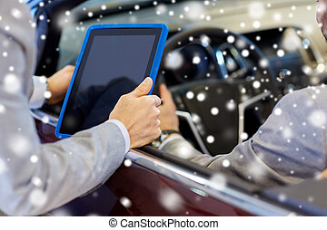 close up of men with tablet pc and cabrio car - auto...