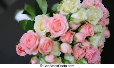 Beautiful wedding bouquet of fresh flowers   shot in slow motion  close up