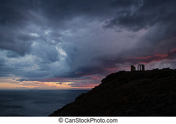 Temple of Poseidon - Cape Sounion, Attica, Greece -...