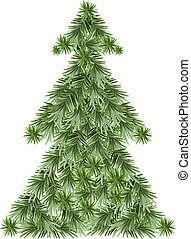 Christmas pine tree. Isolated illustration in vector format