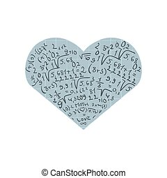 Flat design with numbers and heart. I love math.Isolated on...
