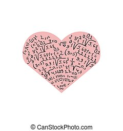 Flat design with numbers and pink heart. I love...