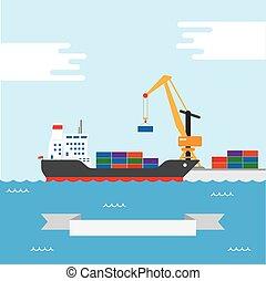 Cargo transportation ship - Vector concept of river ocean...