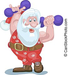 Santa is going to carry gifts, plays sports.