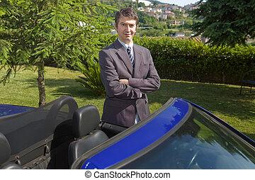car dealer - confident man car dealer standing outdoors