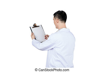 asian male doctor writing on a medical record chart after medical treatment of patient, isolated on white
