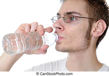 Man drinking bottled water - Young white Caucasian adult...