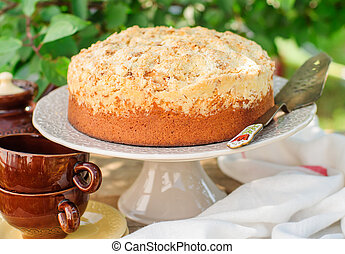 Round Streusel Fruit Cake on a Cake Stand, copy space for...