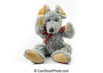 Soft toys-mouse - Soft toy, grey mouse isolated on white