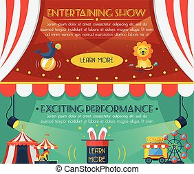 Circus banner set - Circus horizontal banner set with...