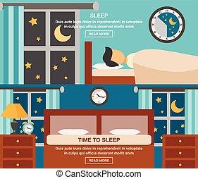 Sleep Time Banner - Sleep time horizontal banner set with...