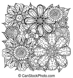 doodle flowers and leafs - Ethnic floral zentangle, doodle...