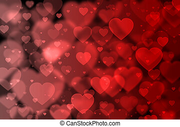 Red hearts background with bokeh effect