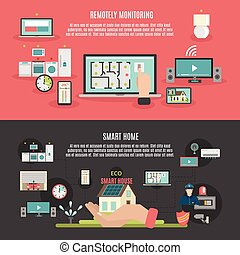Smart home 2 flat banners poster - Smart home iot internet...