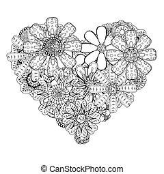heart-shaped pattern - Monochrome Heart of flower doodle...