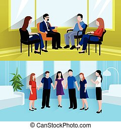 Relationship counseling 2 flat banners composition