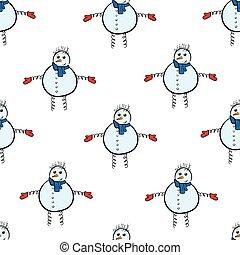 Seamless snowmen with spirals