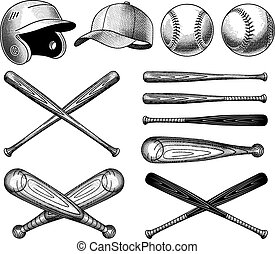Vector Baseball Equipment illustrations - Vector Vintage...