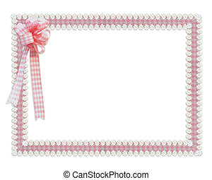 Gingham and daisies ribbons pink border - Image and...