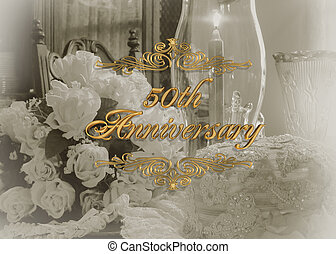 invito, anniversario,  50th, matrimonio
