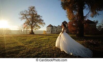 Princess Dress Woman Running Fairy Tale Forest Concept shot...