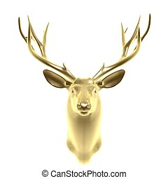 golden deer head isolated on white background