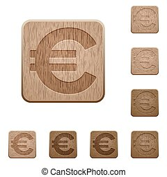 Euro sign wooden buttons - Set of carved wooden euro sign...