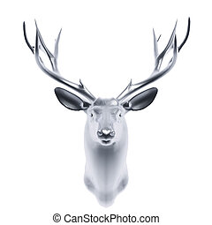 silver deer head isolated on white background